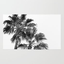 B&W Palm Tree Print | Black and White Summer Sky Beach Surfing Photography Art Rug