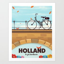 Holland Bicycle travel poster Art Print