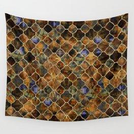 Quatrefoil Moroccan Pattern Brown Labradorite Wall Tapestry