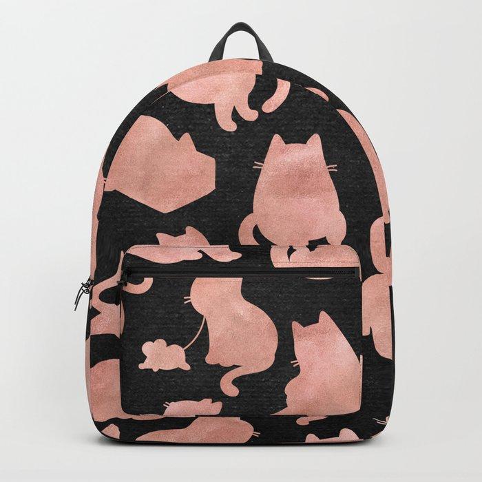 Rose Gold Pink Cats on Black Backpack