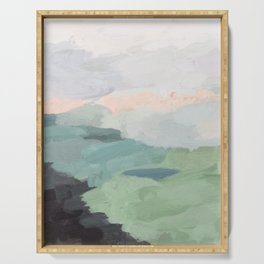 Seafoam Green Mint Black Blush Pink Abstract Nature Land Art Painting Serving Tray