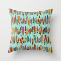 surf Throw Pillows featuring Surf by Helene Michau