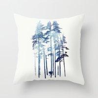 wolf Throw Pillows featuring Winter Wolf by Robert Farkas