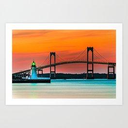 Newport Bridge - Newport, Rhode Island - Conanicut Island Sunset Art Print