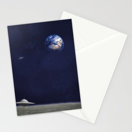 Earth, Spaceships and Stars Stationery Cards