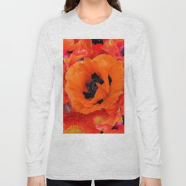 DECORATIVE ORANGE POPPY FLOWERS COMPOSITION Long Sleeve T-shirt