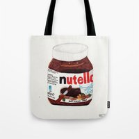 nutella Tote Bags featuring Nutella by Angela Dalinger