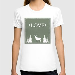 Winter Silence, LOVE, with pine trees and a deer T-shirt