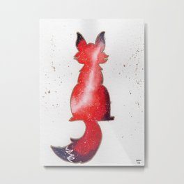 """Red Galaxy Fox"" watercolor painting Metal Print"
