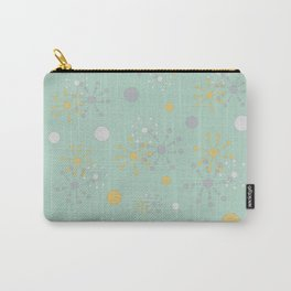 Grey Yellow Geometric Circles Green Bkgrd Carry-All Pouch