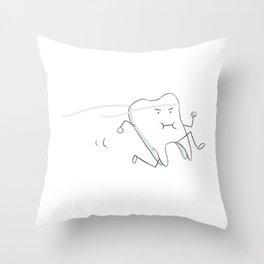Floss - running tooth - mint Throw Pillow