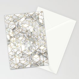 White marble geomeric pattern in gold frame Stationery Cards