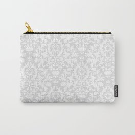 Vintage chic gray white abstract floral damask pattern Carry-All Pouch