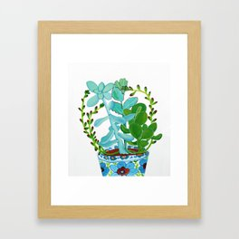 Indian Pot with Succulents Framed Art Print