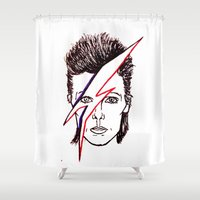 aladdin Shower Curtains featuring Bowie Aladdin by Diego L.D.