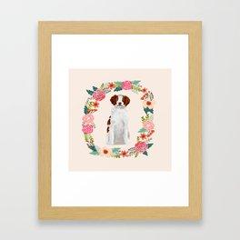 brittany spaniel dog floral wreath dog gifts pet portraits Framed Art Print