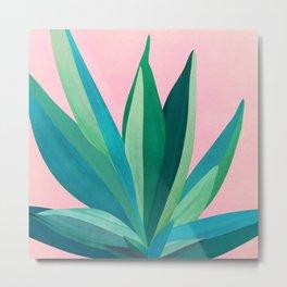 Spring Cactus With Pink Sky / Desert Series Metal Print