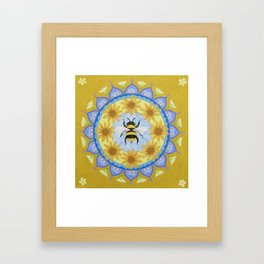 Honey Bee Mandala Framed Art Print