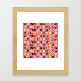 donuts coral pink Framed Art Print