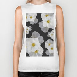 White blossom flower in pattern Biker Tank