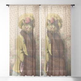 Lady Vanderkat with Roses Sheer Curtain