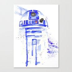 R2-D2 R2D2 droid watercolor Wars Scifi Star FAnart Canvas Print