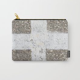 Urban Texture Photography -  White Painted Asphalt Carry-All Pouch