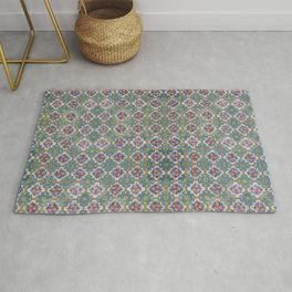 Floral tile yellow turquoise Rug