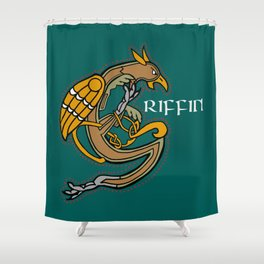 Celtic Medieval Griffin Text 2019 Shower Curtain