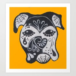 Boxer Sugar Skull on Gold Art Print