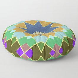 Multi-Colored Quilt Star Pattern Floor Pillow