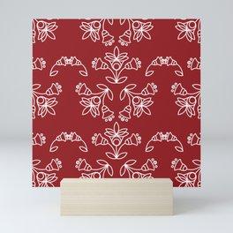Floral Tile Design Pattern White & Samba Red BG Mini Art Print