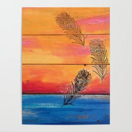 Rising Sun. My Orginal Abstract Painting by Jodilynpaintings. Abstract Sunset With Feathers. Beach Poster