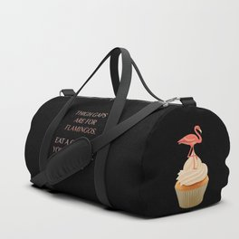 Body Positivity Statement - Thigh gaps are for flamingos. Eat a cupcake. Black background Duffle Bag