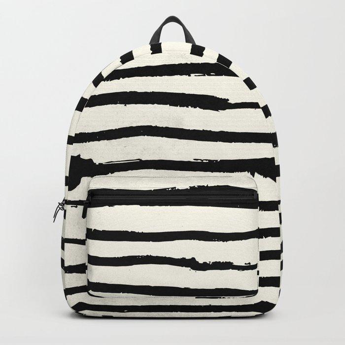 Tribal Stripes Black Earth on Ivory Cream Backpack