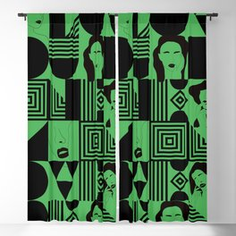 Green I Love You, Be Mine Face Pattern Blackout Curtain