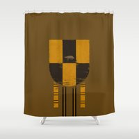 hufflepuff Shower Curtains featuring hufflepuff crest by nisimalotse