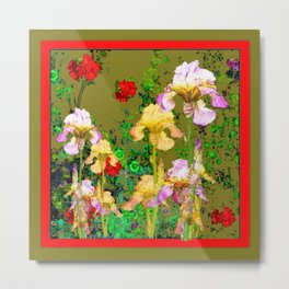 RED GERANIUMS & YELLOW IRIS  AVOCADO COLOR GARDEN PATTERNS Metal Print