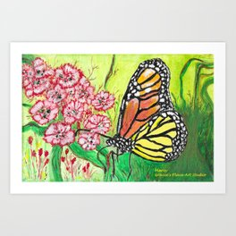 Monarch Butterfly with Pink Flowers Art Print