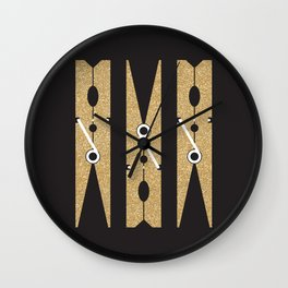 Laundry Clothespins - Gold Glitter, Black and White Wall Clock