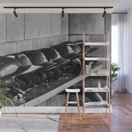 Helmets on a Bench Wall Mural