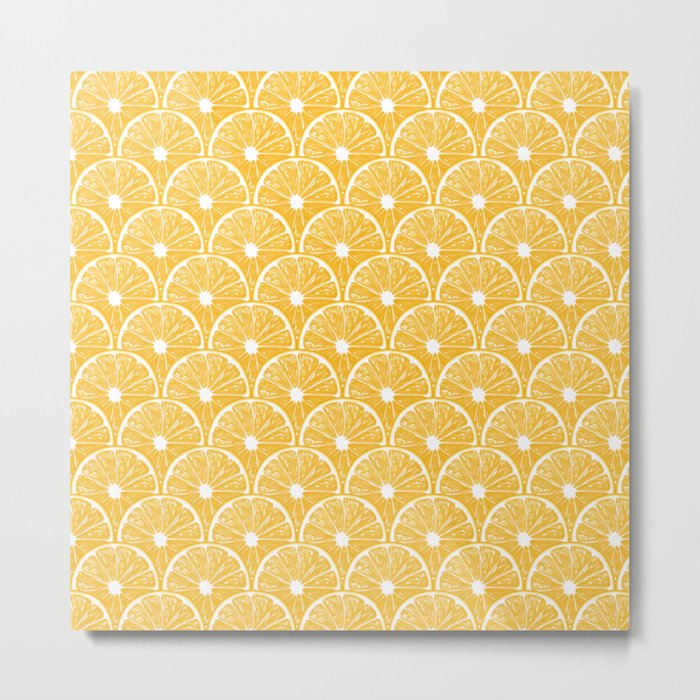 Orange slices, tropical fruit pattern design Metal Print