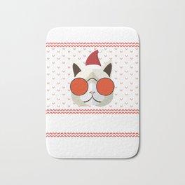 Funny Cat Ugly Christmas Sweater T-Shirt Bath Mat