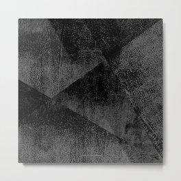 Black and Dark Gray Geometric Ink Texture Metal Print