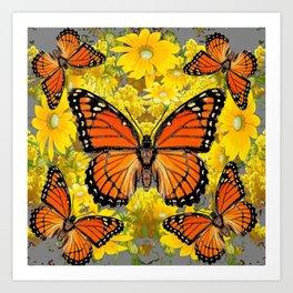 MONARCH BUTTERFLIES & GOLDEN YELLOW  FLOWERS Art Print