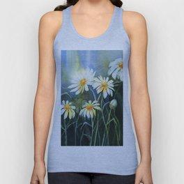 Daisies Watercolor Flowers Unisex Tank Top