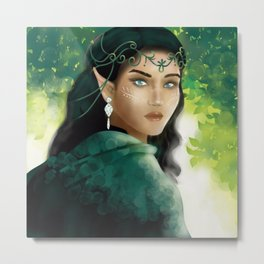 Forest Elf Girl Metal Print