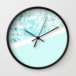 Aqua Splatter - Diagonal Wall Clock
