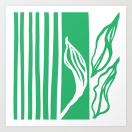 Long Leaf Stripe green Art Print