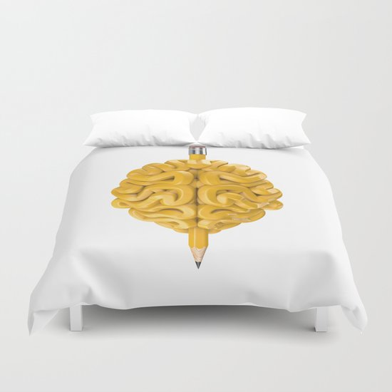 Pencil Brain Duvet Cover